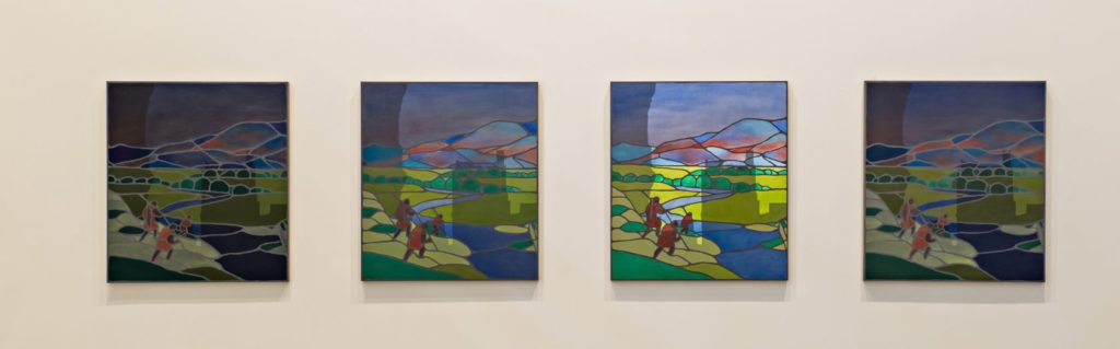 One Day, 2015, oil on black MDF, 53x47cm each